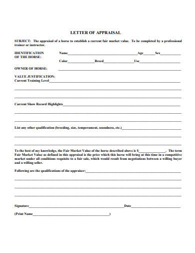 printable appraisal letter