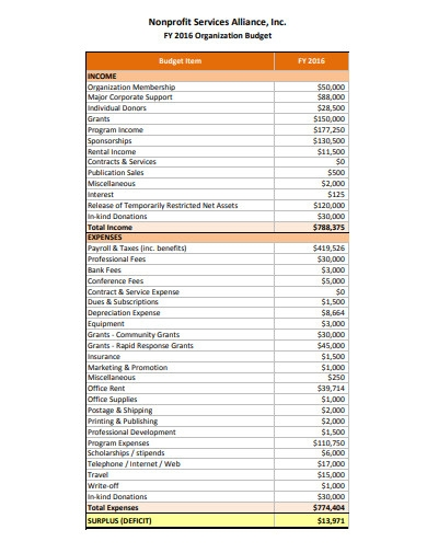 printable nonprofit budget example