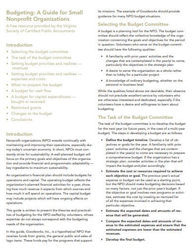 printable nonprofit budget