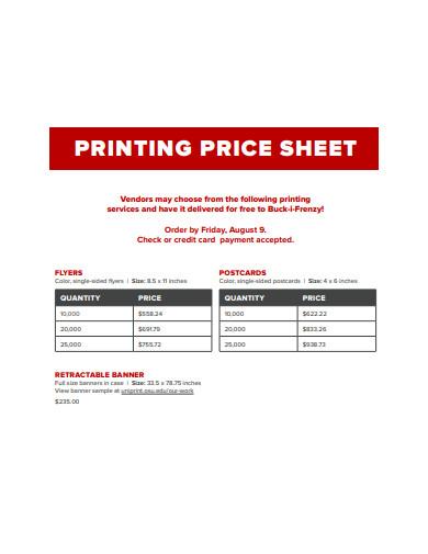 printable price sheet