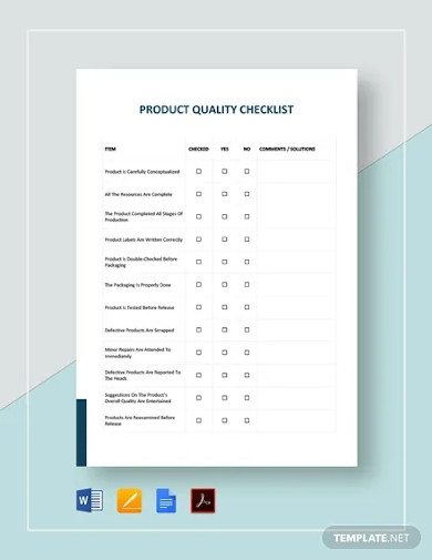 product quality checklist template