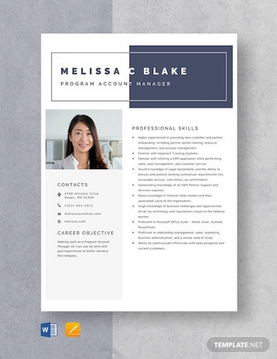 program account manager resume