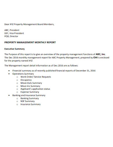 property management monthly report