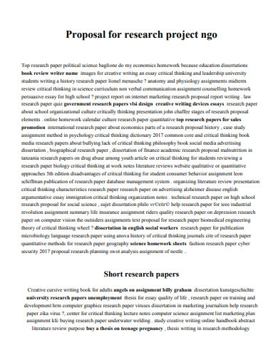 proposal for research project ngo