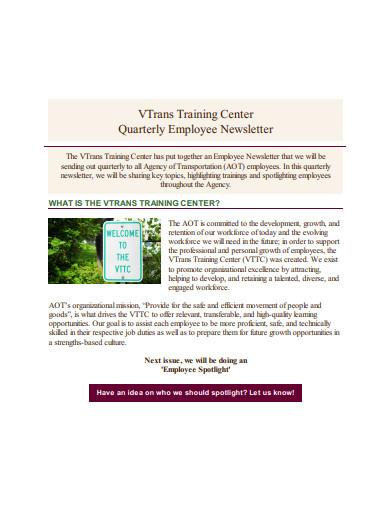 quarterly employee newsletter