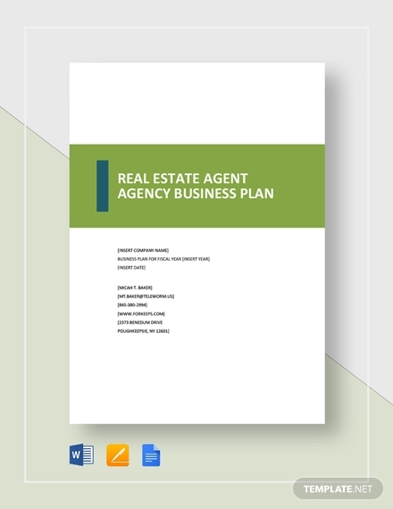 real estate agent agency business plan template