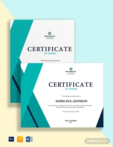 real estate agent certificate template