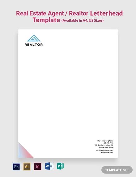 real estate agent realtor letterhead template