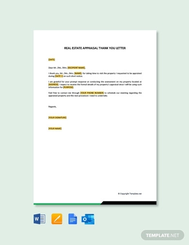 real estate appraisal thank you letter