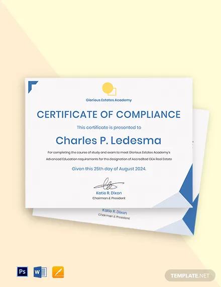 real estate compliance certificate template
