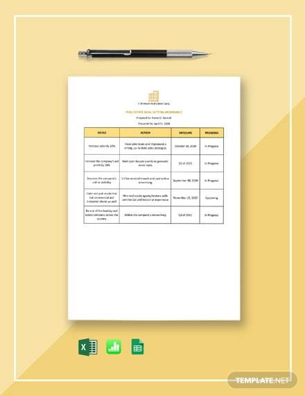 real estate goal setting worksheet template