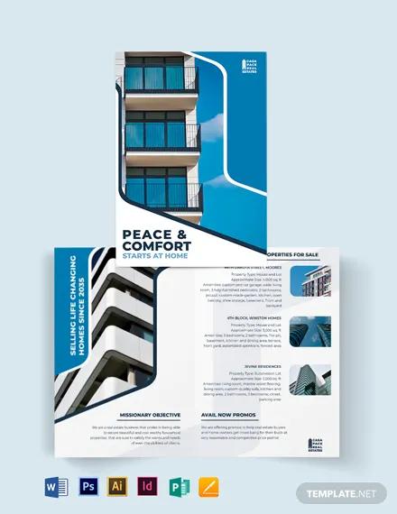 real estate listing bi fold brochure template
