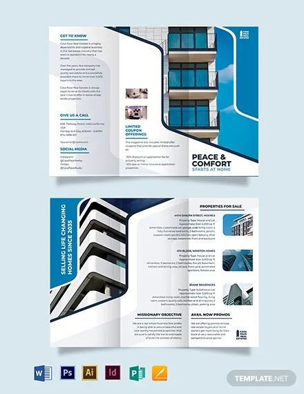 real estate listing tri fold brochure template