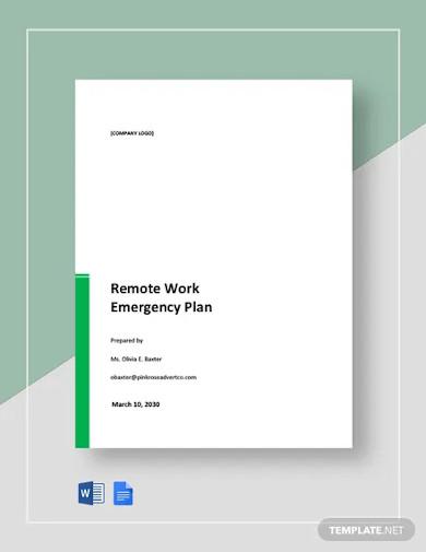 remote work emergency plan template