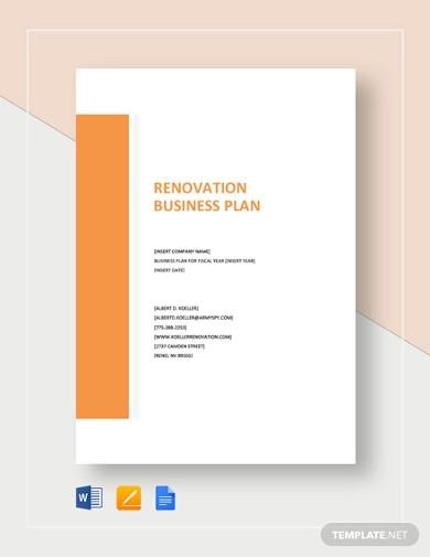 renovation business plan template