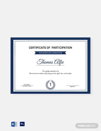 research participation certificate