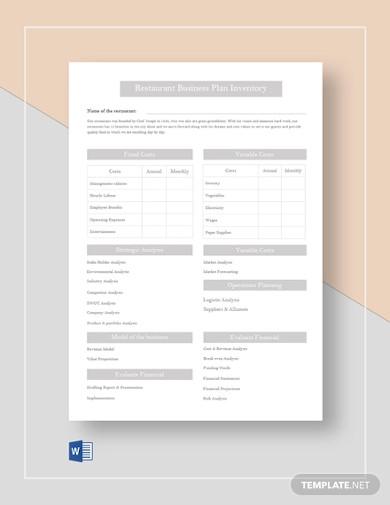 restaurant business plan inventory
