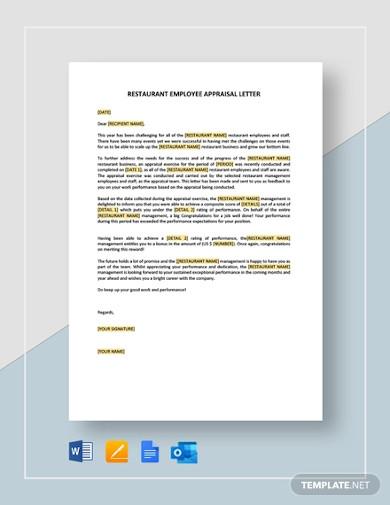 restaurant employee appraisal letter