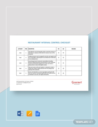 restaurant internal control checklist templates