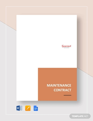 restaurant maintenance contract template