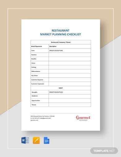 restaurant market planning checklist template