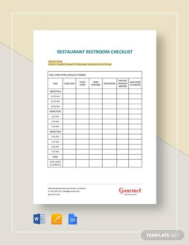 restaurant restroom checklist