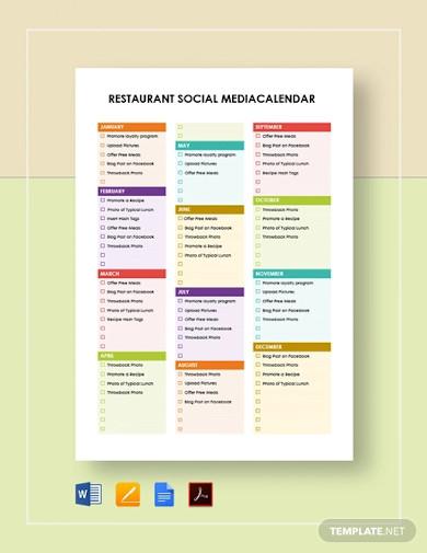 restaurant social media calendar