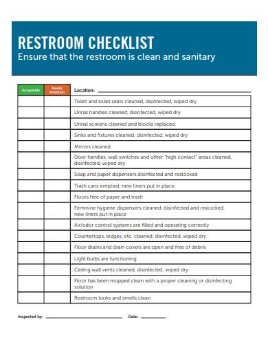 restroom checklist