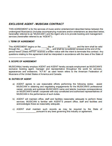 sample booking agent contract