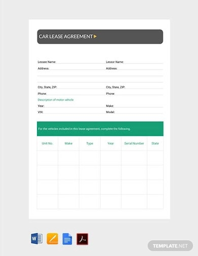 sample car lease agreement
