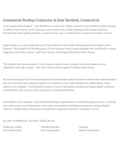 sample commercial roofing contractor