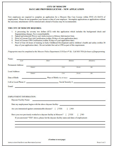 sample daycare application