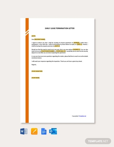 sample early lease termination letter