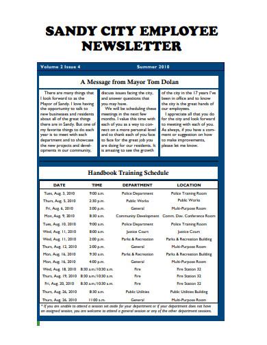 sample employee newsletter example