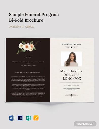 sample funeral program bi fold brochure template