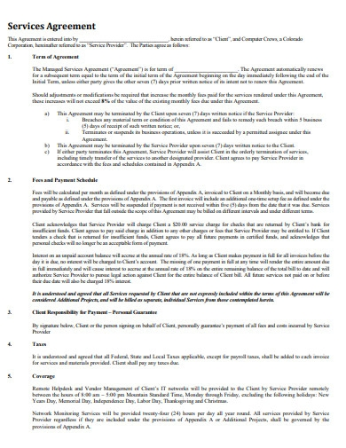 sample managed services agreement contract