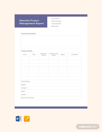 sample monthly project management report