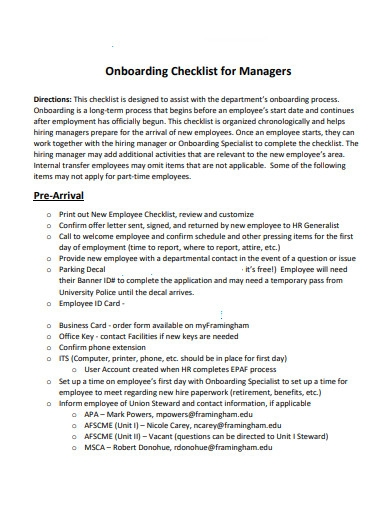 sample onboarding checklist for managers