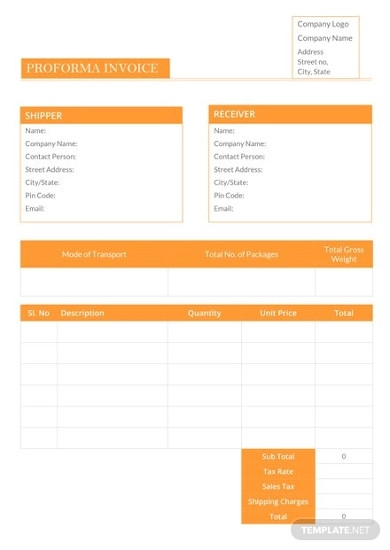 sample proforma invoice