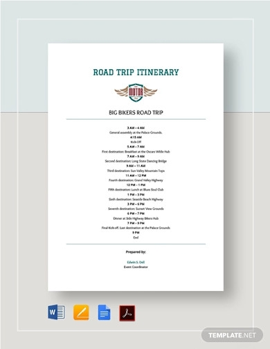 sample road trip itinerary