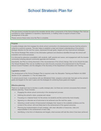 school management strategic plan