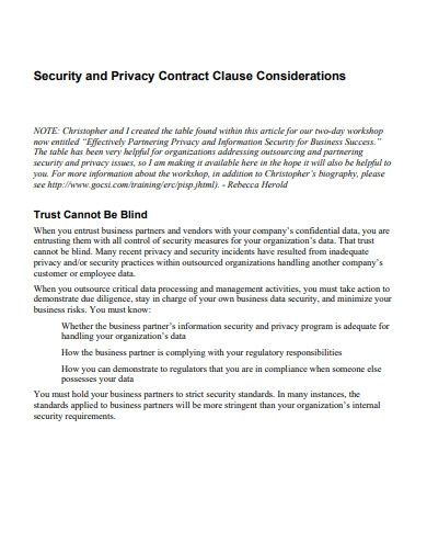 security and privacy contract