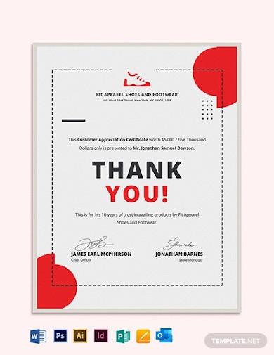 simple customer appreciation certificate