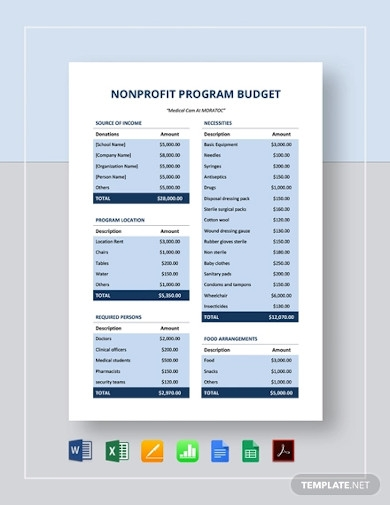 simple nonprofit program budget