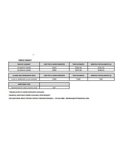 simple price sheet