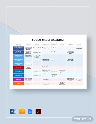 simple social media calendar
