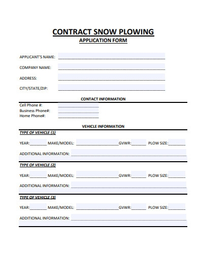 snow plow contract application form