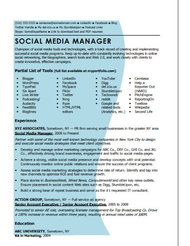social media account manager resume