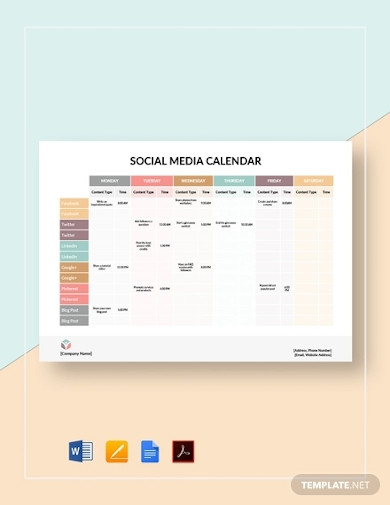social media calendar example