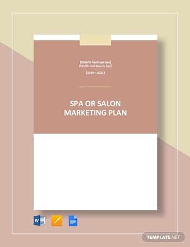 spa or salon marketing plan template